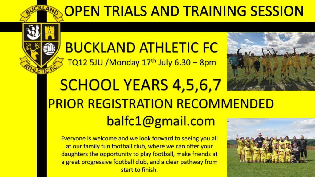 buckland athletic ladies FC open trials